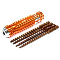 Set de tournevis 4 en 1 métrique avec poignée de force (orange)