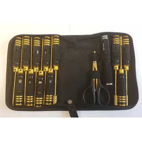 Set outils 14pcs Alu Métrique TiCo Noir/Or