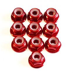 M4 Alum. Flanged Lock Nut Red (10)