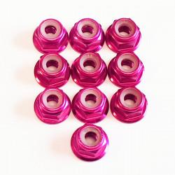 M4 Alum. Flanged Lock Nut Pink (10)