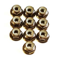 M4 Alum. Flanged Lock Nut Gun Metal (10)